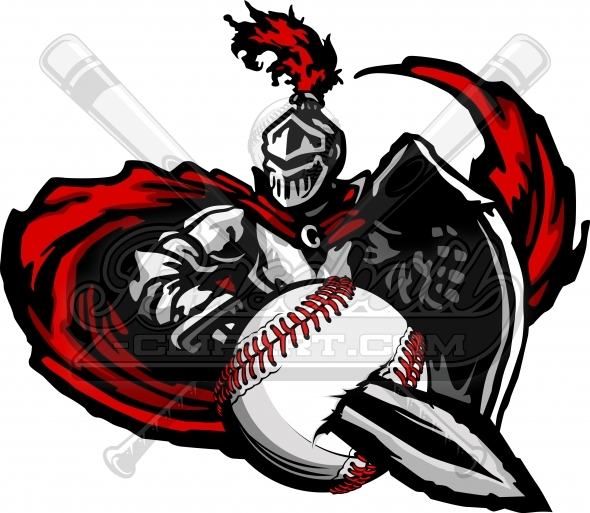 Knight Baseball Clipart – Baseball Team Vector Mascot Image