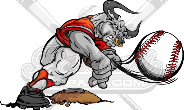 Bull Baseball Pitcher – Bull Mascot Throwing Pitch Cartoon Vector Image