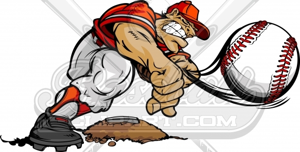 Cartoon Baseball Pitcher – Baseball Player Throwing Pitch Clipart Image