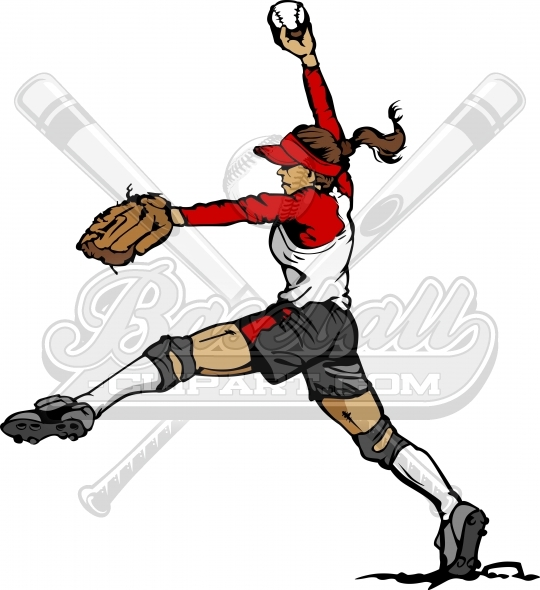 Girls Softball Clipart Vector Image