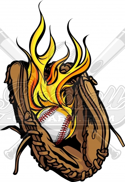 Flaming Baseball Glove Vector Clipart Image