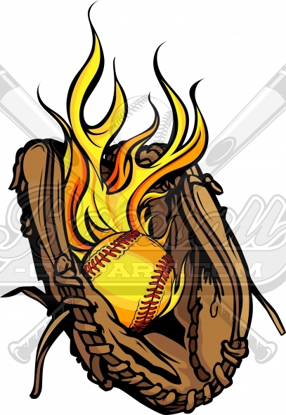 Flaming Softball Glove Vector Clipart Image