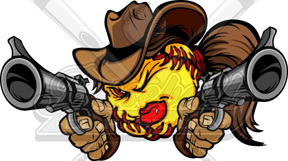 Softball Shootout Clipart – Cowgirl Fastpitch Image