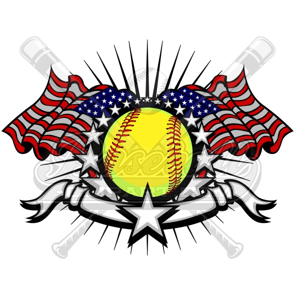 softball american flag clipart vector graphic rh baseball clipart com baseball and softball league guidelines Baseball Logo Designs
