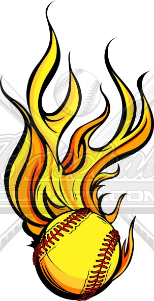 Vector Flaming Fastpitch Softball – Sports Clipart Image