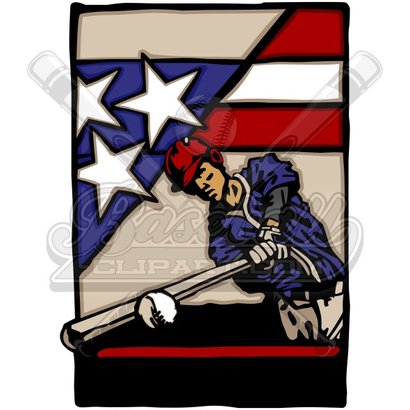 Fourth of July Baseball Vector Clipart Image